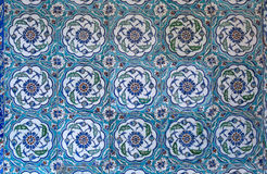 View of wall tiles in Blue Mosque, Istanbul Stock Images