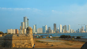 View of walled city overlooking the Caribbean Sea in the city of Cartagena royalty free stock photography