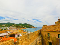 View through walls of ancient fortress in Tossa de mar. Costa Brava, Spain Stock Images