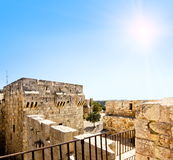 View from the walls of ancient Jerusalem to Jaffa Gate amid sunny skies Royalty Free Stock Photos