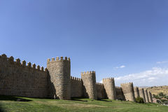 View walls of Avila city in Spain Stock Images
