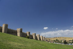 View walls of Avila city in Spain Royalty Free Stock Image