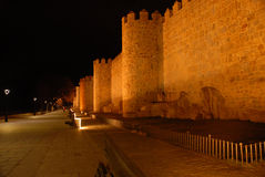 View of the walls of  Avila night Royalty Free Stock Images