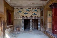 Crete, Greece - January, 2016. Dolphins on the Knossos walls. View of walls with Dolphins in the Knossos Palace stock photos