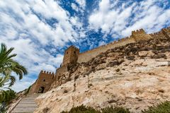 View of the walls and entrance of the Alcazaba of Almeria (Almeria Castle). Spain Stock Photo
