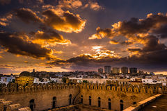 View from the walls of the fortress of Ribat of Sousse in Tunisia. Stock Images