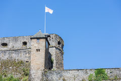 View at walls of medieval Castle Bouillon in Belgium Stock Images