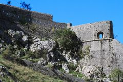View of the walls of a stone fortress, Kotor. Montenegro Stock Images