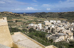 View from walls of Victoria`s Citadel on Gozo, Malta Stock Images