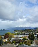 View of Wanaka Town, Lake & Mountains, Otago New Zealand stock photos