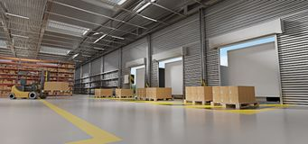 Warehouse goods stock background 3d rendering stock image