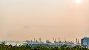 View of Warehouse Port background in Singapore evening time with moving cloud. Time lapse stock footage