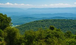 View from Warm Spring Mountain fo the Allegheny Mountains. View from Warm Spring Mountain of Shenandoah Valley and the Allegheny Mountain Range in the background stock image