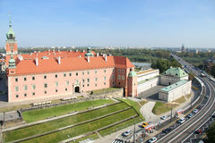 View of Warsaw. With Royal Castle and modern streets royalty free stock photography