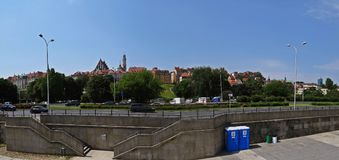 View at Warsaw Old Town from Opposite River Bank, Warsaw, Poland, May 2018 royalty free stock photo