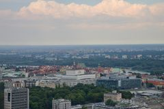 View of Warsaw from palace of science and culture, Poland, Europe. View of Warsaw from palace of science and culture, Poland in Europe stock image