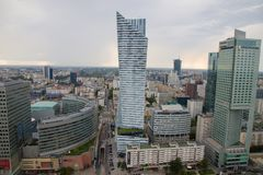 View of Warsaw from palace of science and culture, Poland, Europe. View of Warsaw from palace of science and culture, Poland in Europe stock images