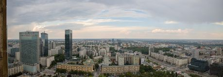View of Warsaw from palace of science and culture, Poland, Europe. View of Warsaw from palace of science and culture, Poland in Europe royalty free stock image