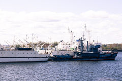 View of warships on the river Stock Photography