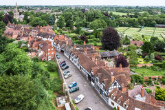View of Warwick from the top of Warwick Castle. Warwickshire, Un Royalty Free Stock Images