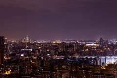 Manhattan skyscrapers. View was made from The Top. The beautiful view was made from the top of Manhattans roof in Manhattan in the summer night New York USa royalty free stock photography