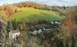 View of Washpool and Bartonend Lane from Horsley, Gloucestershire royalty free stock photography