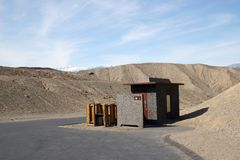 A view of washroom in Death Valley. A view of primitive washroom in Death Valley National park Royalty Free Stock Images
