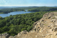 View of Wassel Reservoir from rocky ridge on Ragged Mountain, Connecticut. Wassel Reservoir and view north from basalt cliffs of Ragged Mountain, Berlin stock image
