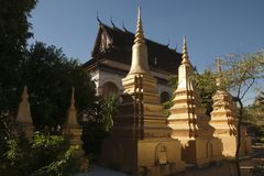 View of Wat Bo temple and stupas stock image