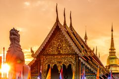 Wat Chedi Luang temple at sunset in Chiang Mai - Thailand. View on Wat Chedi Luang temple at sunset in Chiang Mai - Thailand Royalty Free Stock Photos
