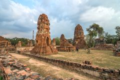 Wat Mahathat temple in cloudy day in Ayutthaya, Thailand. View of Wat Mahathat temple in cloudy day in Ayutthaya, Thailand Royalty Free Stock Photo