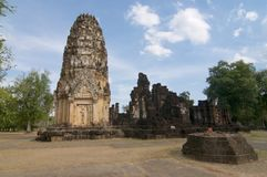 View of Wat Phrapai Luang in Sukhothai Historical Park royalty free stock image