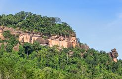 View of wat Phuthok or wat Jatiyakeeree viharn on cliff high mountain at Bueng Kan Province, Thailand. View of wat Phuthok or wat Jatiyakeeree viharn on cliff stock photography
