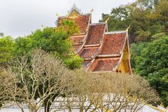 View of Wat Siengthon Temple in Louangphabang, Laos. Copy space for text. Royalty Free Stock Photography