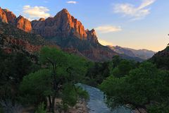 Photographing the Watchman, the most iconic peak in Zion National Park stock photography