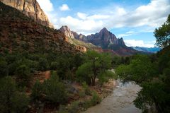 Watchman mountain in Zion National Park USA. View of the Watchman mountain and the virgin river in Zion National Park in Utah in United States Royalty Free Stock Images
