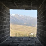 View from watchtower of the great wall. In autumn Stock Images