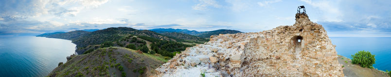 View from watchtower at sea (panorama) Royalty Free Stock Photos