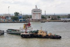 A view of the water area of Port Kavkaz Royalty Free Stock Image