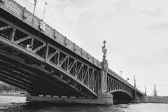 View from water on bridge in saint petersburg, Russia Royalty Free Stock Photography