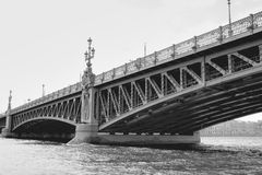View from water on bridge in saint petersburg, Russia Stock Photos