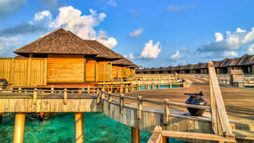 View of water bungalows in tropical paradise Royalty Free Stock Photos
