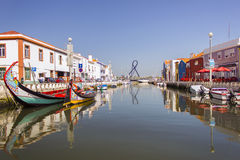 A view of a water canal, Aveiro, Portugal Royalty Free Stock Images