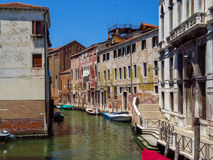 Venice - View from water canal to old buildings Stock Image