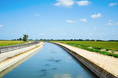 Water channel in the Ebro Delta, Catalonia, Spain Stock Photography