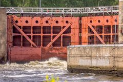 Water coming out from sluice gates. View of Water coming out from sluice gates royalty free stock photography