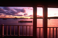 View of Water in Maine. Sunset from porch overlooking lake, Desert Island, Acadia, Maine Stock Photos