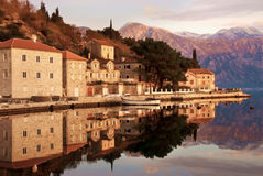 View from water of old town Perast stock images