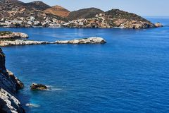 View of water, rocks and sea coast of Mediterranean Sea in Crete island, Greece royalty free stock photos