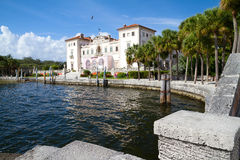 View from the water's edge of Vizcaya Museum and Gardens Stock Image